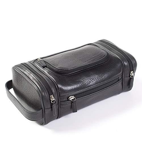 - Multi Pocket Toiletry Bag - Italian Leather - Ebony (black)
