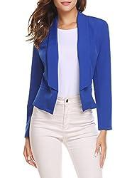 Se Miu Womens Casual Long Sleeve Work Office Open Front Blazer Jacket Royal Blue L