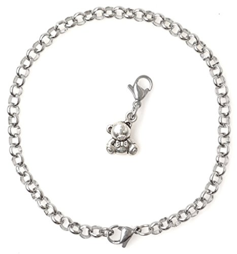 """2 PC SET: Adjustable 8.5"""" Stainless Steel Starter Charm Bracelet and Clip on Charm Teddy Bear 2PB 40F by It's All About...You!"""