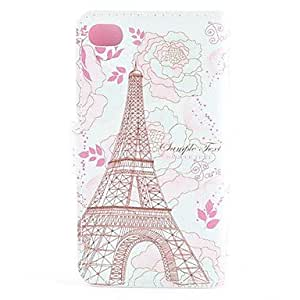 LCJ Tower Surrounded by Blooming Flowers Pattern PU Leather Full Body Case with Card Slot and Magnetic Snap for iPhone 4/4S