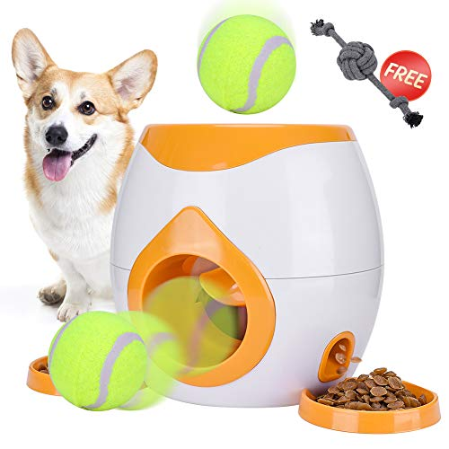 FDA Interactive Tennis Ball Throwing Fetch Machine for Dogs&Cats Food Dispensing Reward Toy Game Toys Animal Training Tool Pet Slow Feeder Puzzle (Orange)