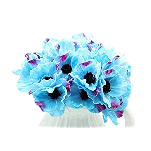 12 Stems Artificial Poppies Real Touch PU Fake Latex Flowers for Wedding Holiday Bridal Bouquet Home Party Decor 2