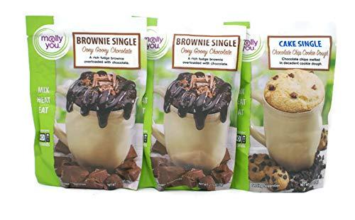 Ooey Gooey Brownies - Variety Pack - Molly & You Brownie & Cookie Singles (2.75 Oz) - (2x) Ooey Gooey Chocolate, Chocolate Chip Cookie Dough,