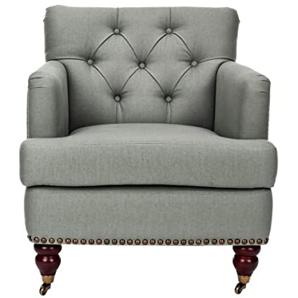 Safavieh HUD8212 Colin Tufted Club Chair Sea Mist