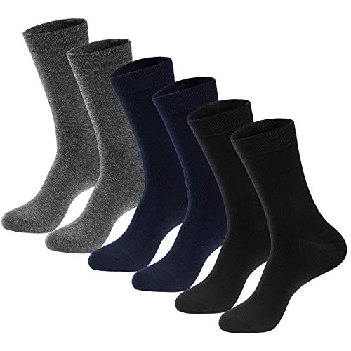 Men's Dress Socks High Ankle Men Casual Dress Socks Cotton Seamless Toe 6 Pairs by MAGIARTE (Dark Grey/Navy Blue/Black, L: Shoe: 9-12)