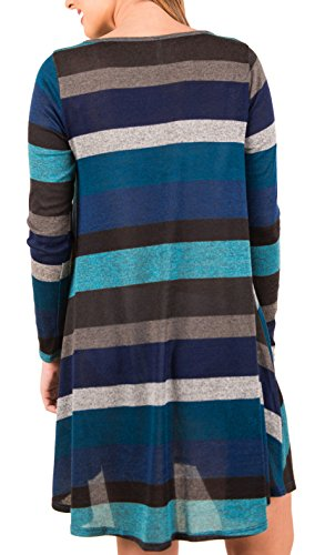 Stripe Pullover Blue Deep Loose Sleeves Women Shirt KorMei T Jumper Dress Long Tunic Oxw8npY