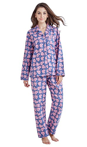Heart Set Lounge (Tony & Candice Women's 100% Cotton Long Sleeve Flannel Pajama Set Sleepwear (Medium, Purple and Pink Hearts))