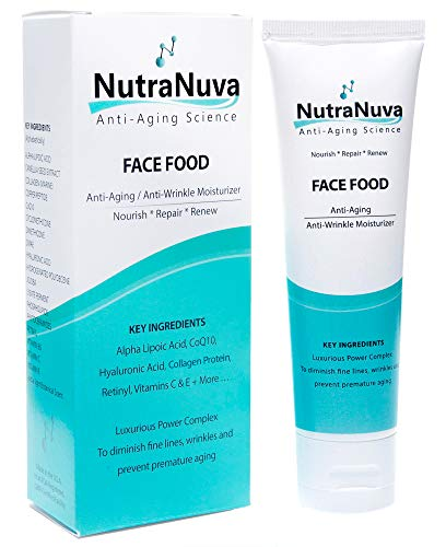 NutraNuva Face Food - Anti Aging Cream & Eye Wrinkle 100% VEGAN Moisturizer - Hyaluronic Acid, Peptides, CoQ10, Vitamin C & E, Retinol, PhytoCeramides, Collagen Protein - Natural Night/Day Skincare