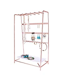 Simmer Stone Rose Gold Jewelry Stand, 4 Tier Jewelry Organizer Holder, Decorative Jewelry Storage Hanger Display with Tray
