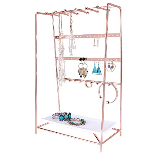 Simmer Stone Rose Gold Jewelry Stand, 4 Tier Jewelry Organizer Holder, Decorative Jewelry Storage Hanger Display with Tray for Rings Bracelets Necklaces Earrings