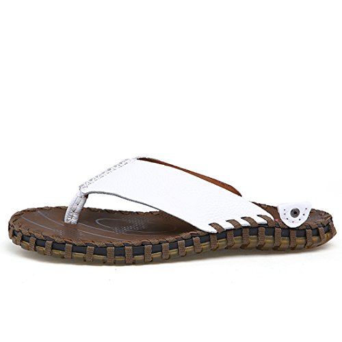 Z.suo Mens Läder Mysigt Flip-flop Sandal Vit