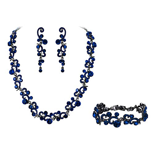 EVER FAITH Women's Austrian Crystal Glamorous Ball Wave Necklace Earrings Bracelet Set Blue Black-Tone