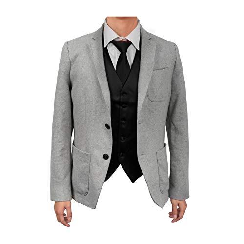 Black Micro Vest - Dan Smith DGDE0001-3XL Black Plain Microfiber Formal Waistcoat Satin For Adults Day Vest Matching Neck Tie