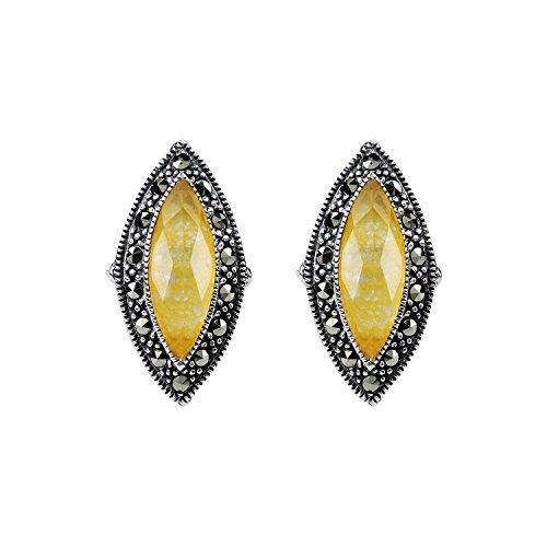 Aura 925 Sterling Silver Crystal,Quartz Doublet & Marcasite ()