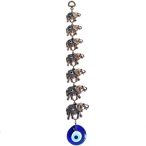 - Erbulus Seven Elephants Glass Turkish Evil Eye Home Protection Charm- Seven Elephants Hanging Ornaments Wall Decor (Silver)