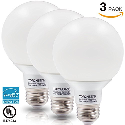 Torchstar #Dimmable# G25 Globe LED Bulb, 7W (60W Equiv.), ENERGY STAR, 2700K Soft White for Pendant, Bathroom, Dressing Room Decorative Lighting, Damp Location Available, 3 YEARS WARRANY, Pack of 3