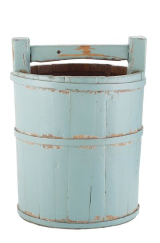 Antique Revival Wooden Soy Sauce Bucket, Aqua from Antique Revival