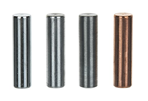 Equal Length Cylinders, Set of 4 Metals, 1.5'' length and 0.4'' (10mm) Diameter - Aluminum, Zinc, Copper, Steel - For use with Density, Specific Gravity, Specific Heat Activities - Eisco Labs by EISCO