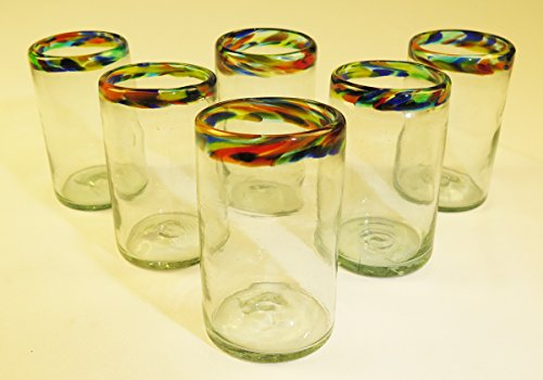 Mexican Glasses Confetti Rim Tumblers 16 oz, (6) by Mexican Glasses