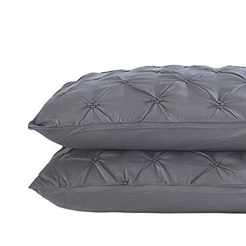 Vaulia Lightweight Microfiber Pillow Shams, Well Designed Pinch Pleat Pattern - Grey, King Size Set of 2