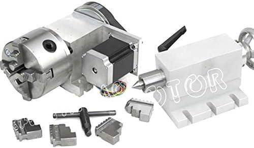 [スポンサー プロダクト]CNCルーター 第4軸 4爪チャック 100mm Nema23ステッパーモーターと4爪チャック付き CNC分割ヘッド 回転軸 K12-100mm + 65mmテールストック