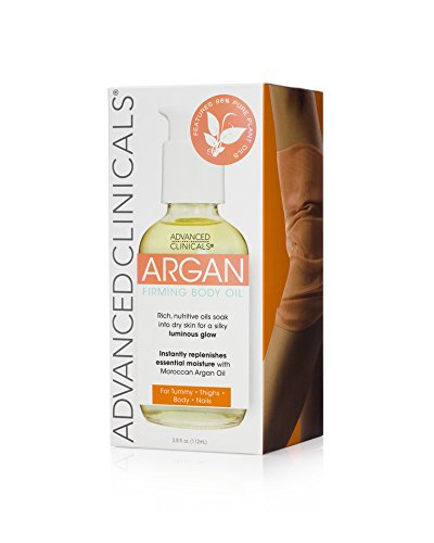 Advanced Clinicals Argan Firming Body Oil for tummy, thighs, body, nails. 4oz.
