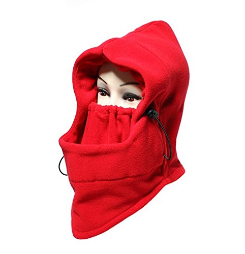Red Motorcycle Mask Outsport Full Face Hat Winter Balaclava Mask Fashion 6 in 1 Neck Winter Face Hat Fleece Hood Ski Mask Warm Helmet For Honda VTR1000F/FIRESTORM (Storm Ear Warmers)