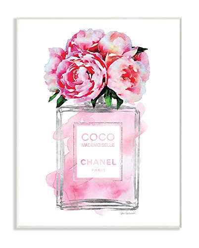 Stupell Industries Glam Perfume Bottle V2 Flower Silver Pink Peony Wall Plaque Art, Proudly Made in USA (Wall Peony)