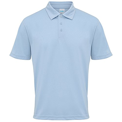 Just Cool Mens Plain Sports Polo Shirt (XL (45 Inch Chest)) (Sky Blue) - 113 Rugby