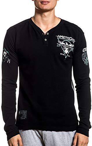American Fighter Abraham Long Sleeve Athletic Graphic Fashion Sport Henley Thermal T-shirt Top by Affliction