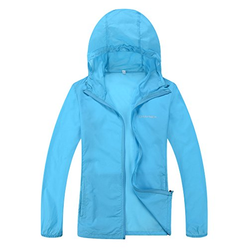 CHAREX Woman Lightweight Windproof Water Repellent Coat Sun Protection Outdoor Jacket Blue L