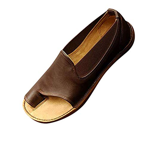 TANGSen Womens Fashion Flats Summer Low-Heeled Leisure Open Toe Beach Casual Shoe Breathable Vintage Roman Sandals Brown
