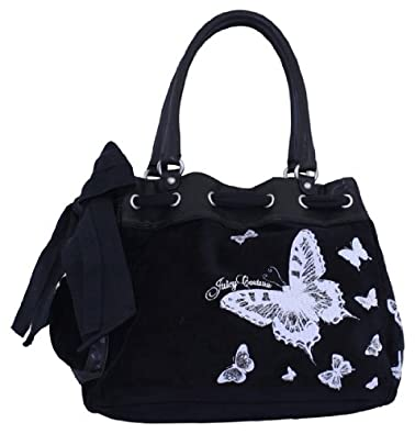Juicy Couture Butterfly Sparkle Day Dreamer Handbag Tote Black Velour   Amazon.co.uk  Shoes   Bags 3af03b5b6c43