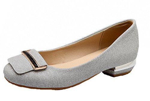 mujeres tacón con cerrada bajo Zapatos y con Bombas VogueZone009 brillo para plateados lisas punta t8PnH