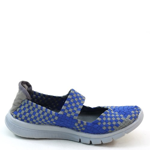 New Brieten Womens Woven Checkered Thick Soled Instep Strap Elastic Comfort Shoes Navy KpiFe6oA