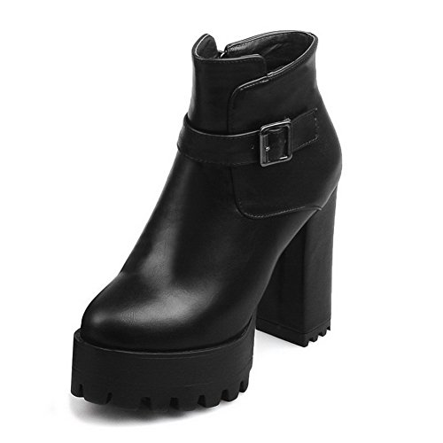 Boots High Heels Allhqfashion Zipper Low PU Black Solid Women's top x0wYRa8qw