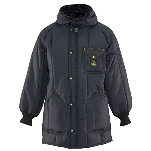 (RefrigiWear Men's Iron-Tuff Ice Parka Water-Resistant Insulated Coat with Hood (Navy Blue, XL) )