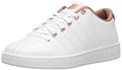 K-Swiss Women's Courtproii Met CMF Fashion Sneaker, White/White/Rose Gold, 7.5 M US