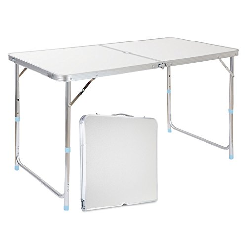 Finether Height Adjustable Folding Table, Lightweight Portable Aluminum Folding Table with Parasol Hole Multi-Purpose Indoor Outdoor Picnic Party Home Kitchen Dining Cookout Camping Table