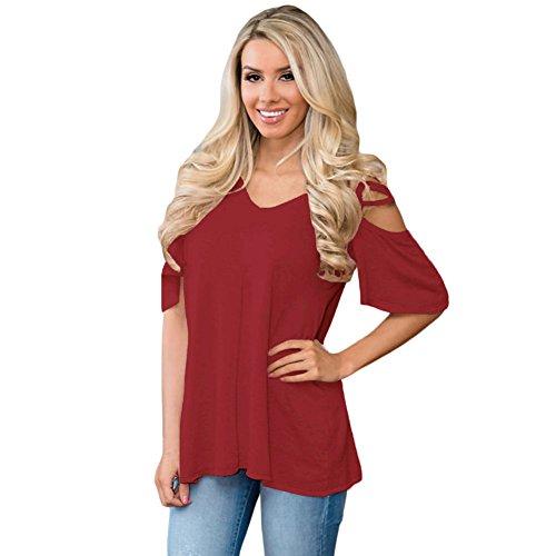 Red Tops Corta Cxq Hombro shirt Frío La De Casual Mujer Qin Wine amp;x T camiseta Manga n1Bq0Z1AP