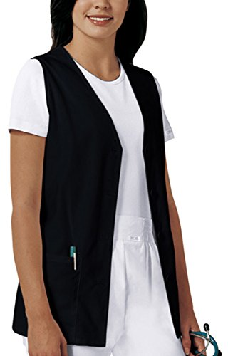 Cherokee 1602 Poplin Button Front Vest Scrub Tops Women, Black, X-Large