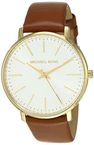 Michael Kors Women's Stainless Steel Quartz Watch with Leather Calfskin Strap, Brown, 18 (Model: ()