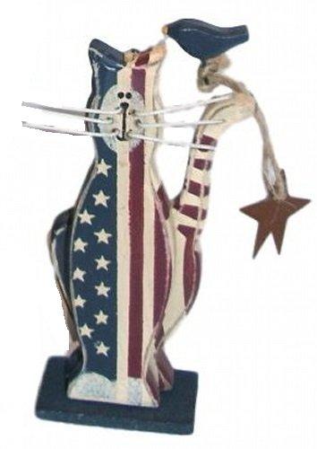 (Ohio Wholesale Americana Cat & Star Folk Art Hand Painted Wood Stand Figurine )