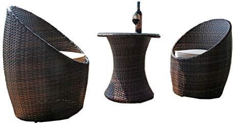 Salón de jardín balcón en, Resina Trenzada Marrón 2 Silla Plus una Mesa con Cristal: Amazon.es: Jardín