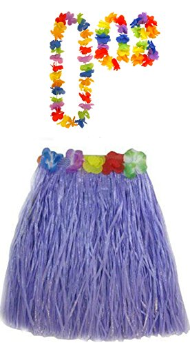 Hula Wedding Lei 40cm Night Violet amp; 80cm Set Jupe Hula Long Collier Bracelet 40cm Hula Ladies Dress Fancy ou Hawaiian Hen zxaqY