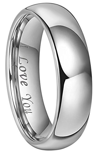 CROWNAL 4mm 6mm 8mm Tungsten Wedding Band Ring Couple Men Women Plain Dome Polished Engraved I Love You Comfort Fit Size 3 To 17 (6mm,9.5)