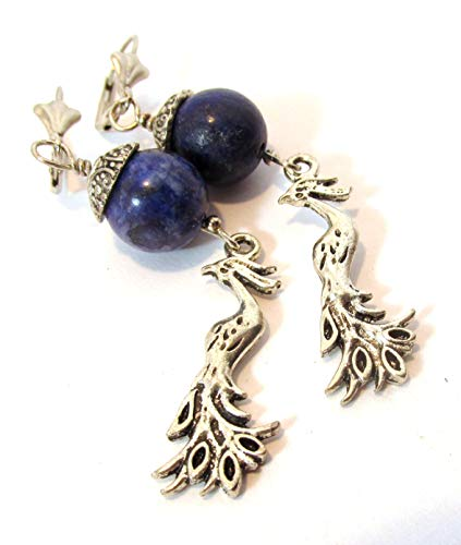 Lapis Lazuli with silver birds dangle earrings