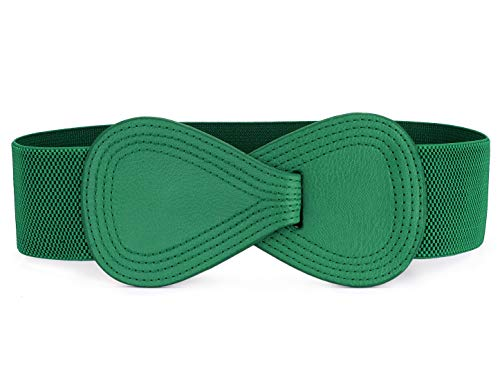 Allegra K Interlock 8-shaped Faux Leather Buckle Elastic Belt for Lady Green One Size