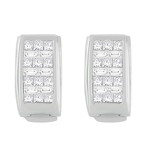 14K White Gold Princess and Baguette-cut Diamond Earrings (3/8 cttw, H-I Color, SI1-SI2 Clarity)