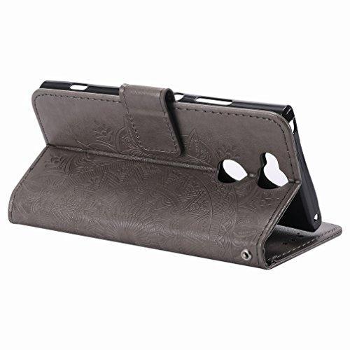 Laybomo Sony Xperia XA2 Ledertasche Schuzhülle Weiches TPU Silikon Cover Magnetisch Stehen Brieftasche Schale Handyhülle für Sony Xperia XA2 mit Kartensteckplatz, Zauberarray (Golden) Grau